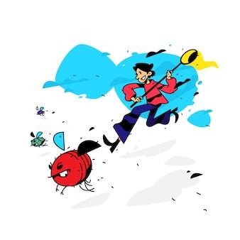 Illustrazione di un uomo che corre con le mosche