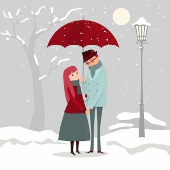 Illustrazione di un uomo che dà i fiori al suo amante in una giornata invernale.