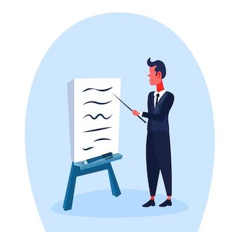 Illustrazione di un uomo d'affari che punta a lavagna a fogli mobili