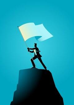 Illustrazione di un uomo d'affari che tiene una bandiera in cima a roccia