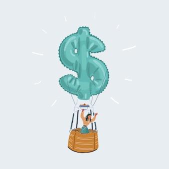 Illustrazione di un uomo d'affari felice in mongolfiera con l'icona di denaro su sfondo bianco.