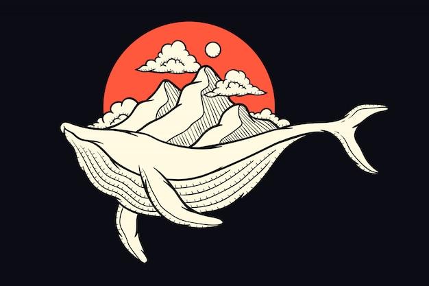 Illustrazione di una balena che trasporta una montagna per la progettazione di stampa