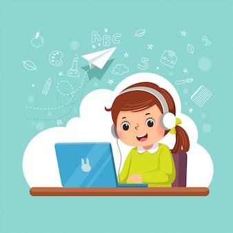 Illustrazione di una bambina cartone animato che indossa le cuffie di apprendimento con il suo computer portatile. concetto di educazione.