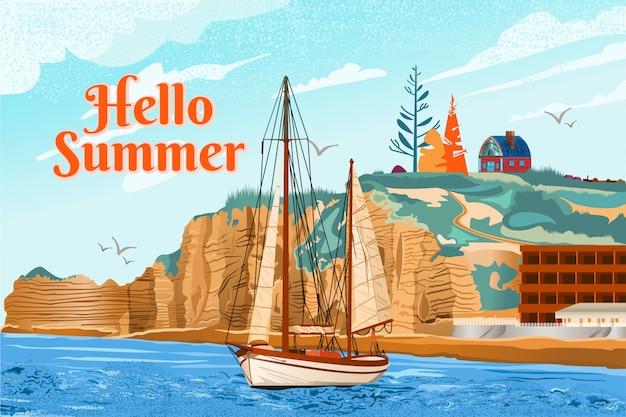 Illustrazione di una barca a vela su una spiaggia con scogliere in estate