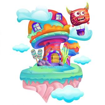 Illustrazione di una casa dei funghi