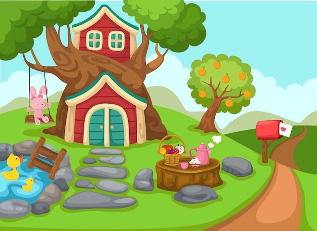 Illustrazione di una casa sull'albero nel paesaggio rurale