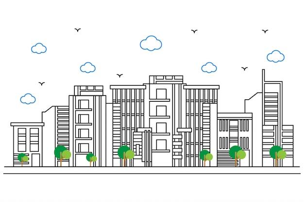 Illustrazione di una città con uno stile bellissimo contorno