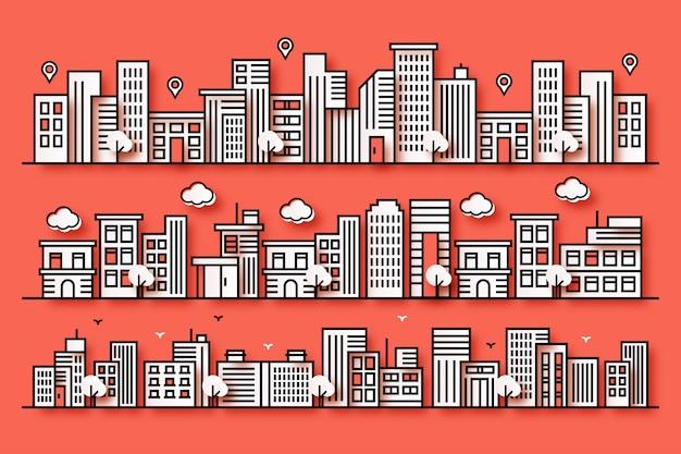 Illustrazione di una città con varie forme di città in uno stile di carta