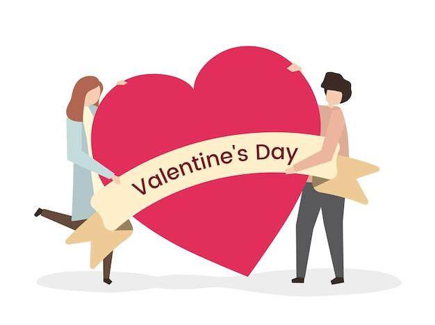 Illustrazione di una coppia a san valentino