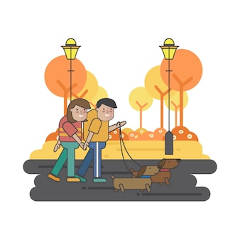 Illustrazione di una coppia che cammina con i loro cani