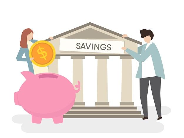 Illustrazione di una coppia in banca