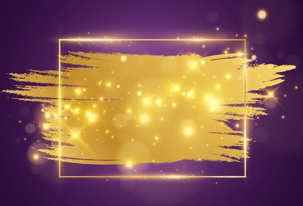 Illustrazione di una cornice dorata con una pennellata.