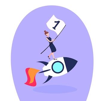 Illustrazione di una donna d'affari su un razzo