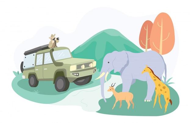 Illustrazione di una famiglia che va in un parco safari per vedere elefanti, cervi e altri.