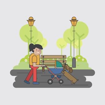 Illustrazione di una madre e un cane
