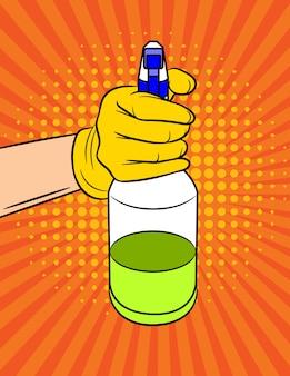 Illustrazione di una mano con uno spray detergente