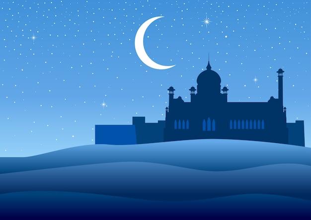 Illustrazione di una moschea sul deserto