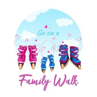 Illustrazione di una passeggiata in famiglia sui pattini a rotelle.