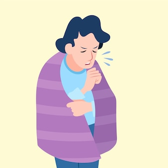 Illustrazione di una persona con un raffreddore