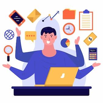 Illustrazione di una persona multitasking