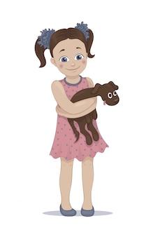 Illustrazione di una ragazza carina che abbraccia il suo cucciolo di animale domestico