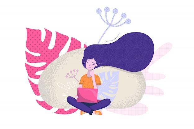 Illustrazione di una ragazza con un computer portatile