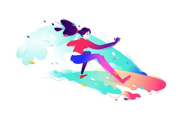 Illustrazione di una ragazza surfista.