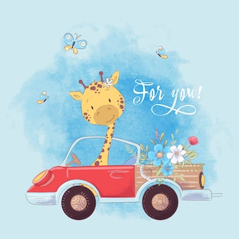 Illustrazione di una stampa per la stanza dei bambini vestiti carino giraffa sul camion con i fiori.
