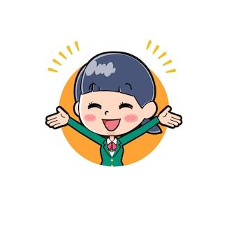 Illustrazione di una studentessa della scuola con l'uniforme verde felice