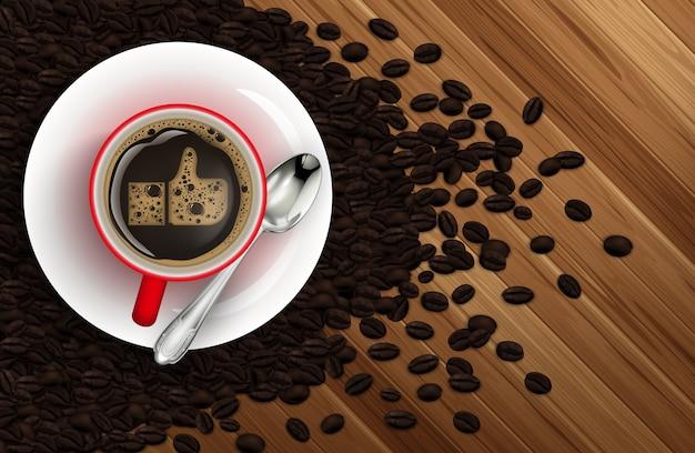 Illustrazione di una tazza di caffè con chicchi di caffè