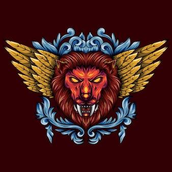 Illustrazione di una testa di leone mitico alata d'oro