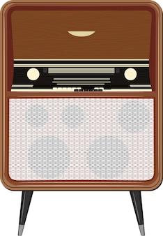 Illustrazione di una vecchia radio sulle gambe