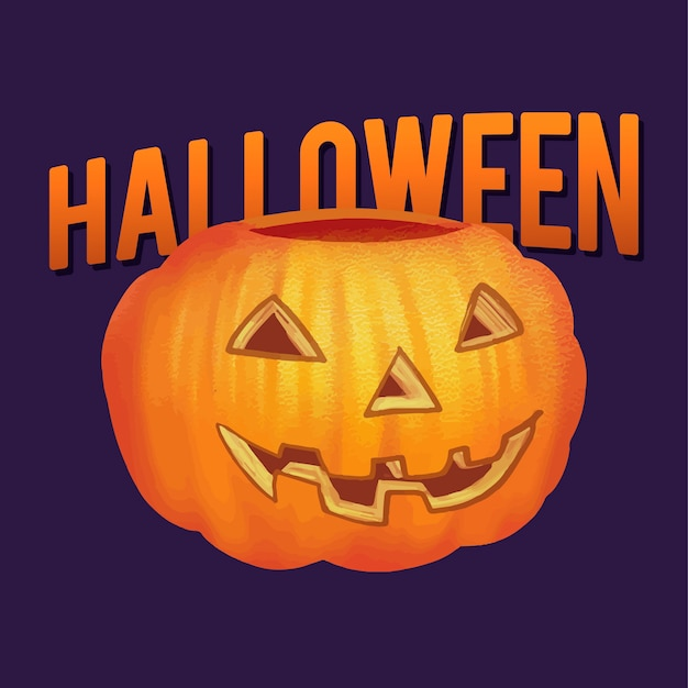 Illustrazione di una zucca intagliata per halloween