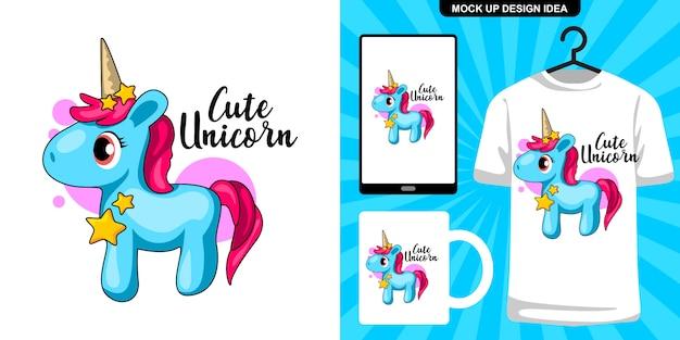 Illustrazione di unicorno blu carino e merchandising