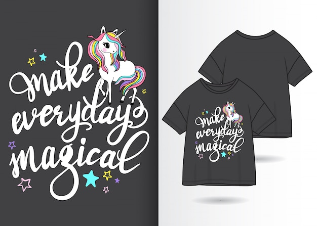 Illustrazione di unicorno carino disegnato a mano con design t-shirt