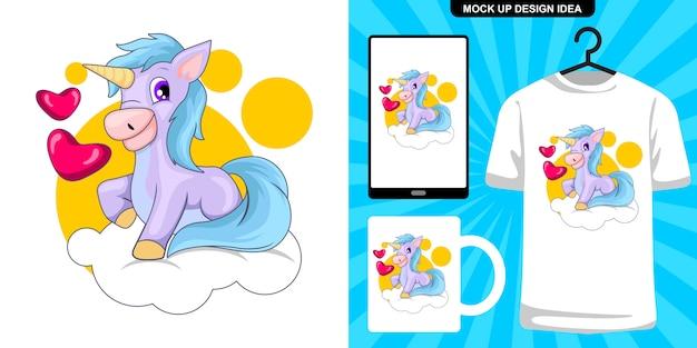 Illustrazione di unicorno carino e merchandising