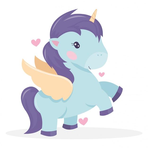 Illustrazione di unicorno carino nella favola di san valentino