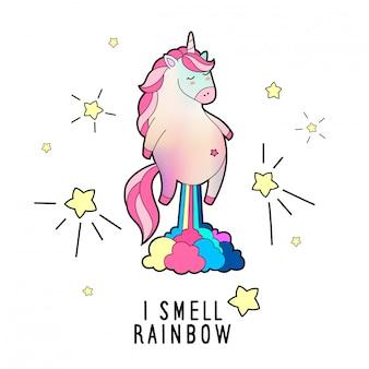 Illustrazione di unicorno magico scoreggia. sento odore di arcobaleno. illustrazione.