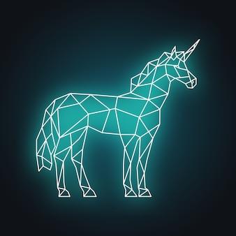 Illustrazione di unicorno poligonale. bagliore al neon