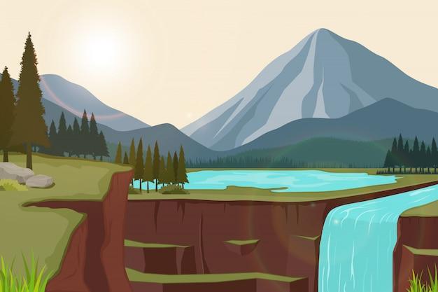 Illustrazione di uno scenario naturale di montagne con laghi e cascate