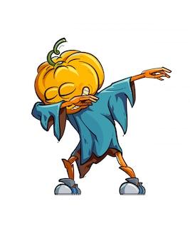 Illustrazione di uno spaventapasseri divertente facendo il movimento dab.