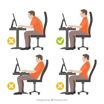 Illustrazione di uomo con la postura corretta e errata