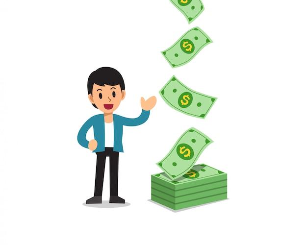 Illustrazione di uomo d'affari felice con denaro banconote in contanti che cade
