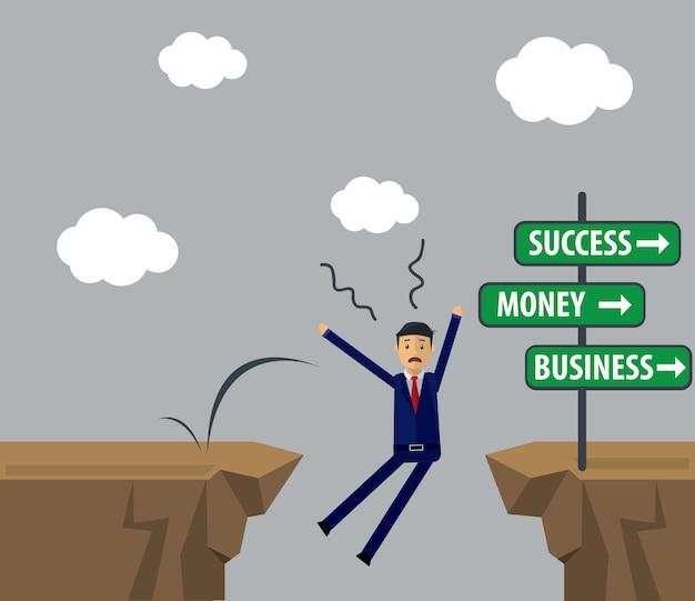 Illustrazione di uomo d'affari. l'uomo d'affari prende la decisione per successo