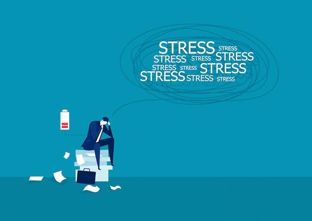 Illustrazione di uomo d'affari sotto stress su molti fogli.