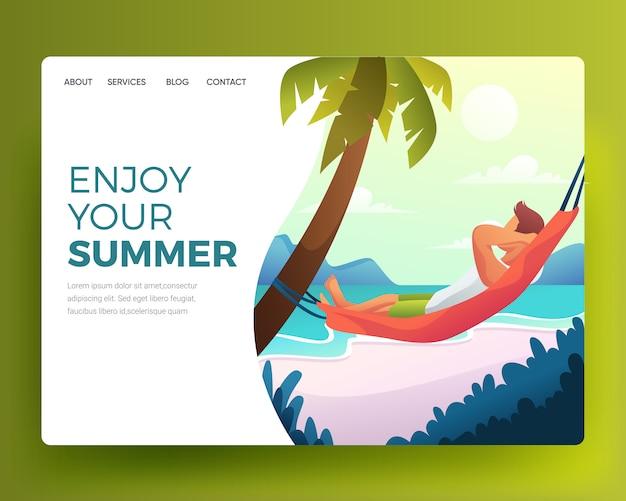 Illustrazione di uomo rilassante che dorme sulla spiaggia