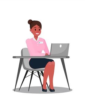 Illustrazione di using laptop vector del responsabile di ufficio