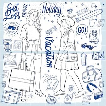 Illustrazione di vacanza attrezzatura vacanze disegnate a mano delle donne