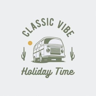 Illustrazione di vacanza vettoriale auto d'epoca