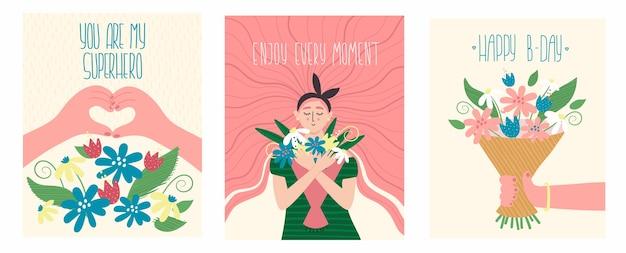 Illustrazione di vacanza vintage con citazione di testo. ragazze, fiori, mani a forma di cuore e scritte romantiche.